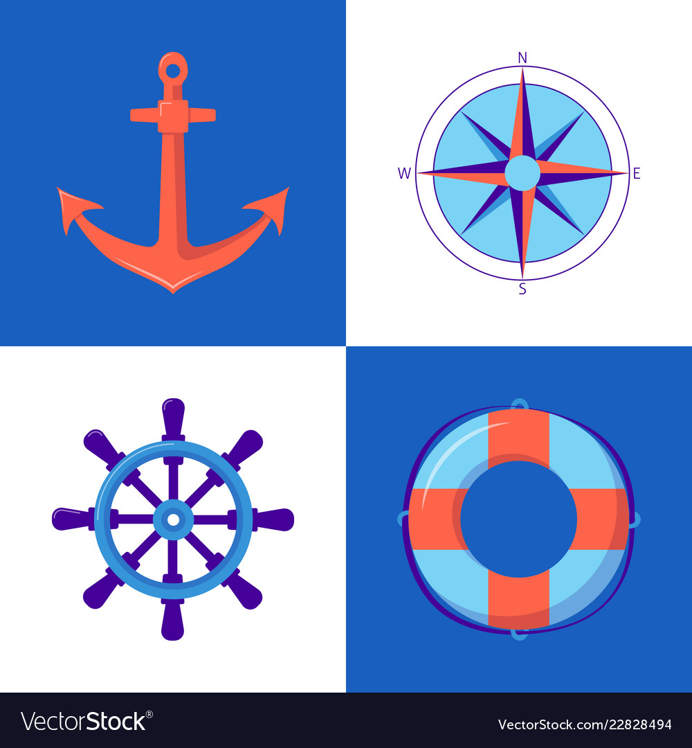 Marine collection of icons in flat style