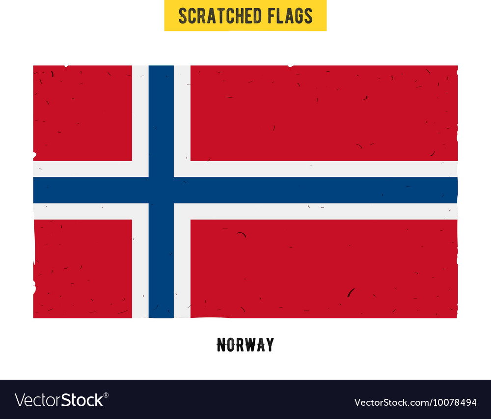 Norwegian grunge flag with little scratches on