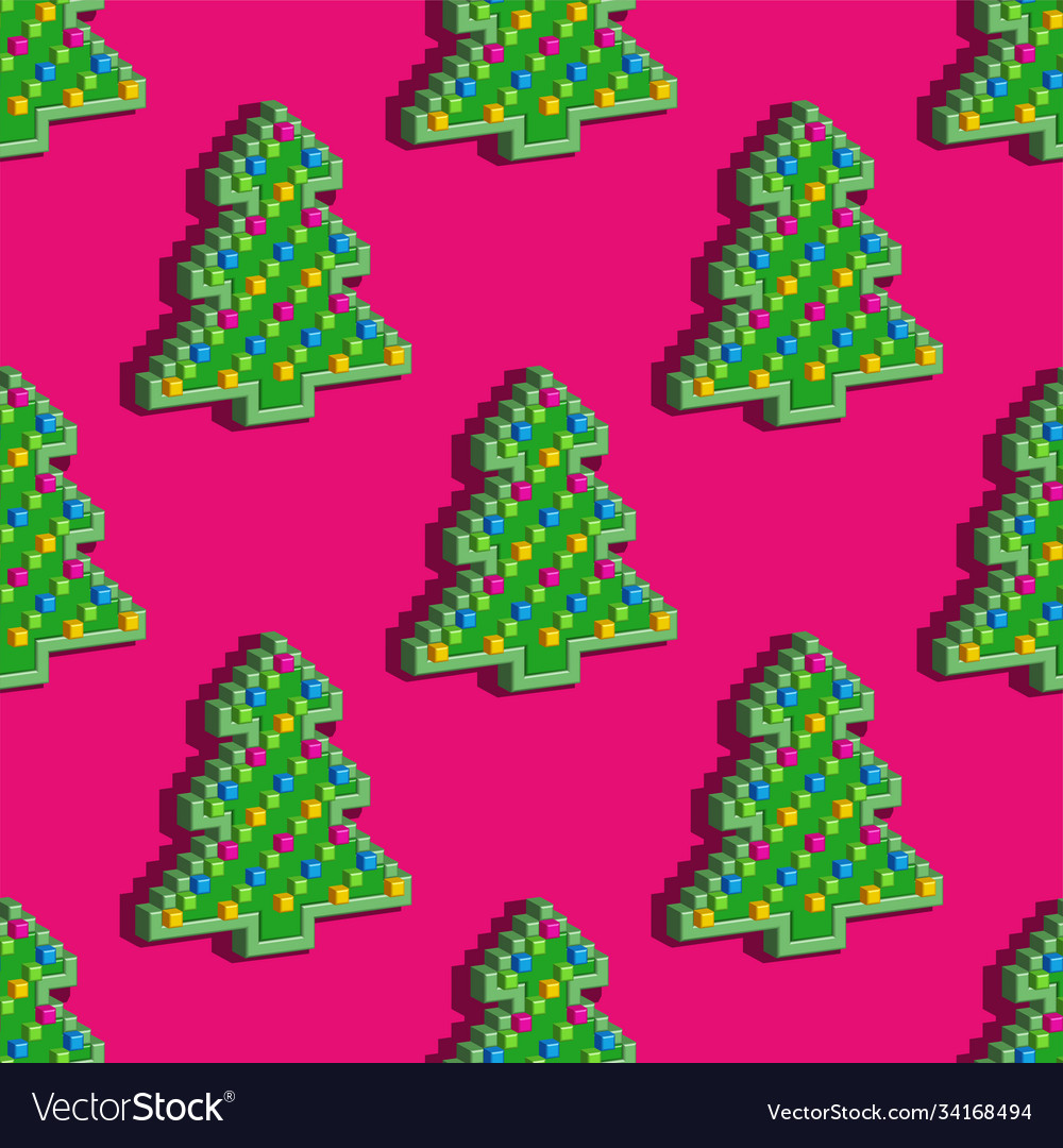 Seamless pattern christmas pixel tree on pink