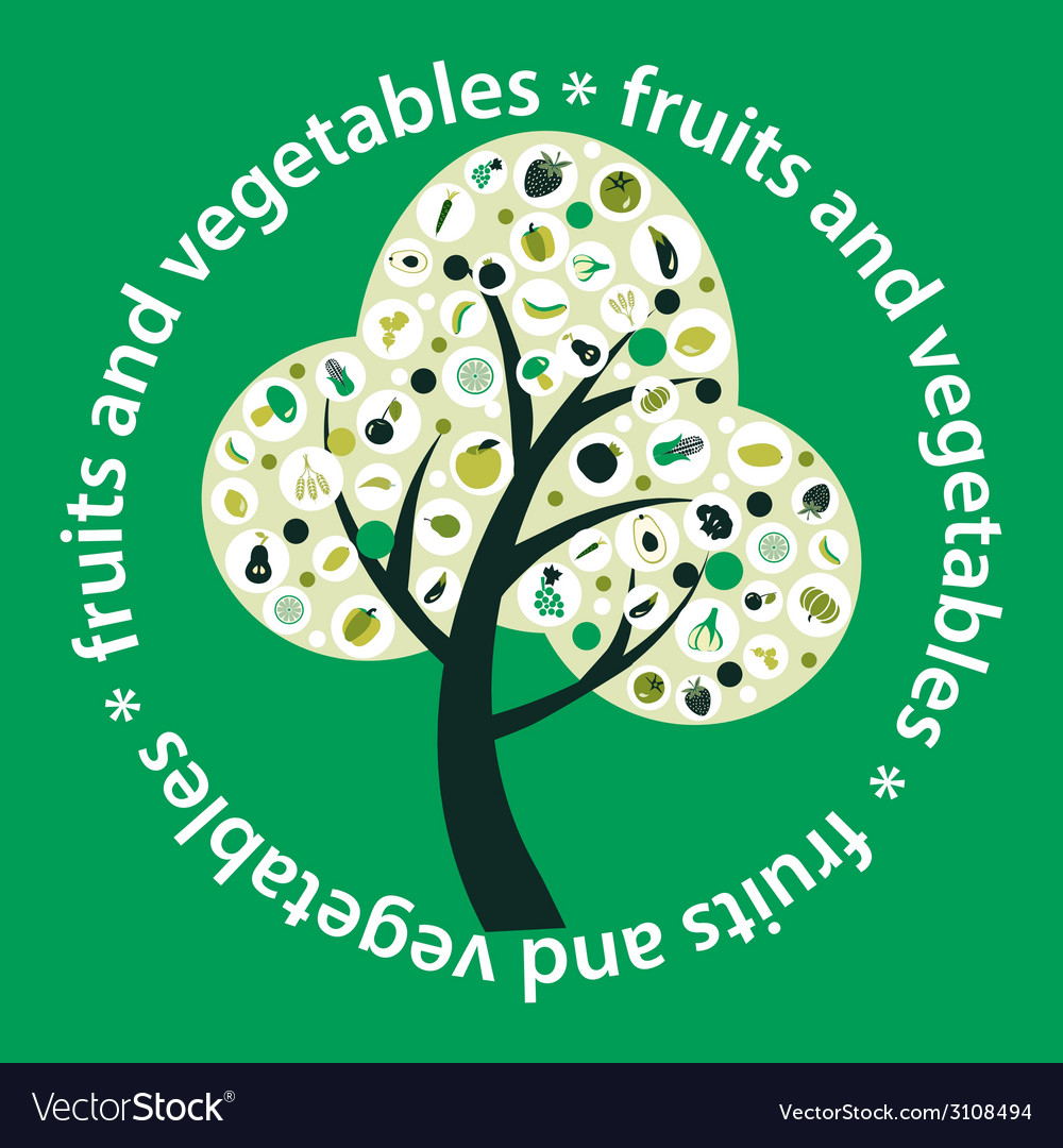 Tree made of fruits and vegetables vector image