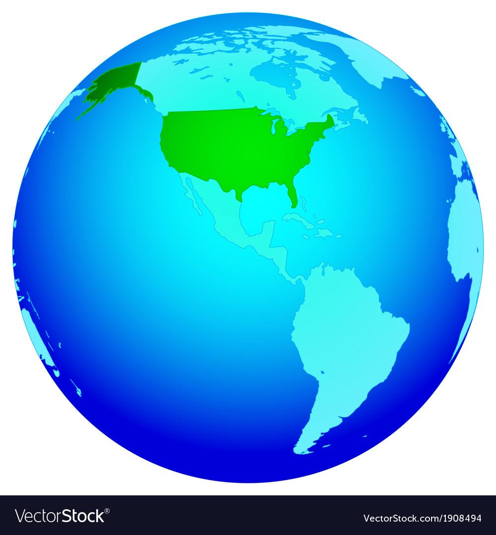 USA on globe vector image
