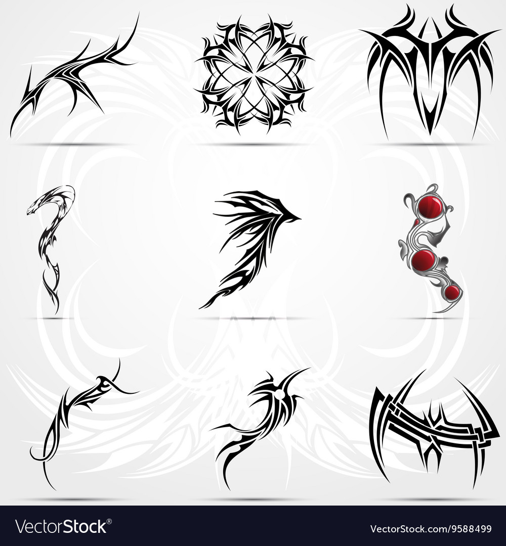 Abstract tattoo tribal set