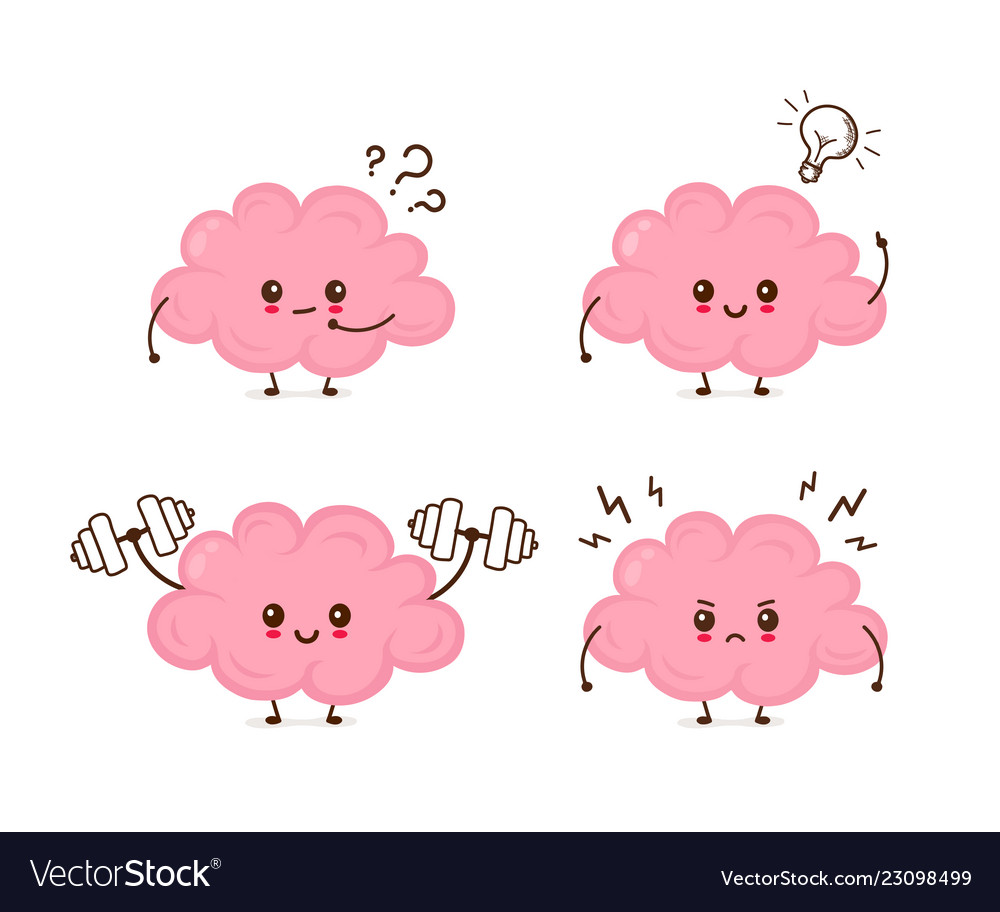 cute funny brain emotions set royalty free vector image vectorstock