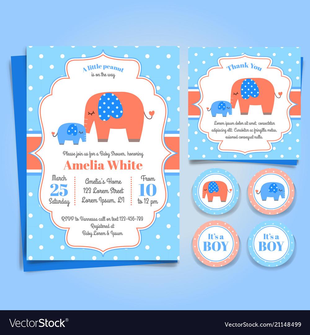 Elephant bashower invitation birthday party