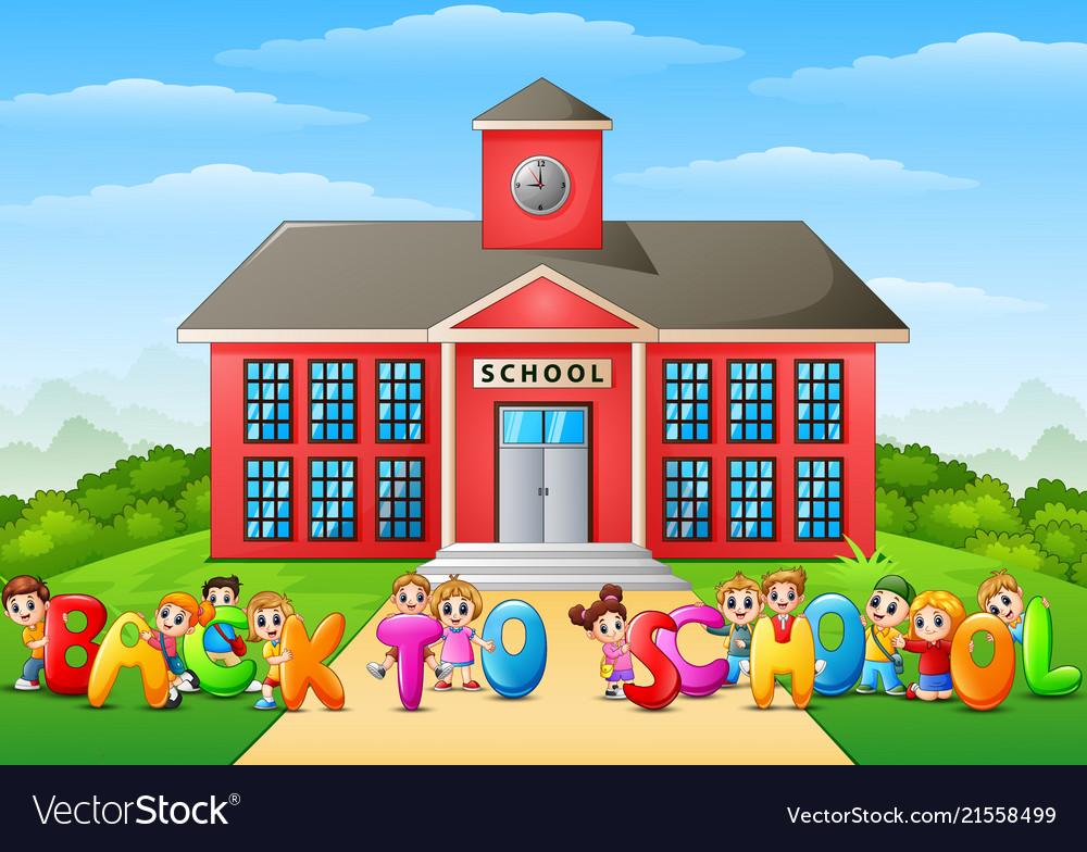Happy school children holdi