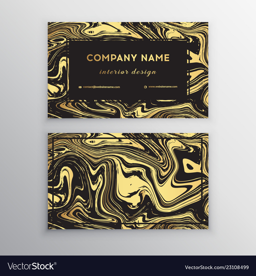 Luxury business card with marble texture and