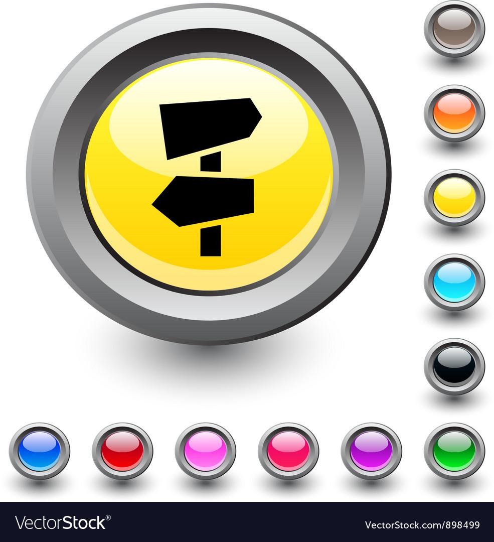 Road arrows round button vector image