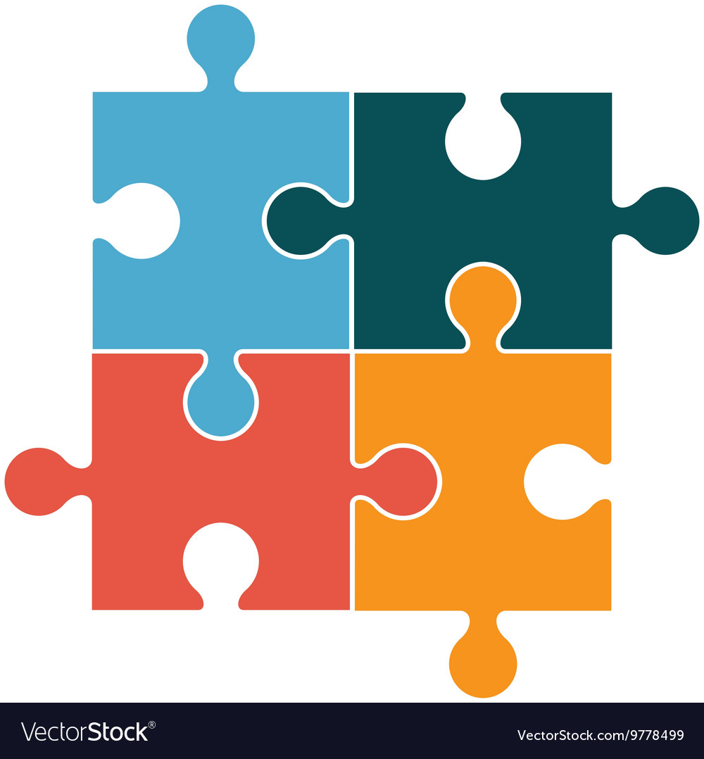 square in four puzzle pieces icon royalty free vector image rh vectorstock com vector puzzle piece template vector puzzle piece road