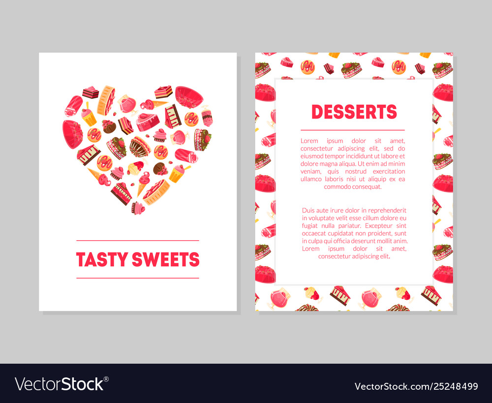 Tasty sweets desserts banner templates set with