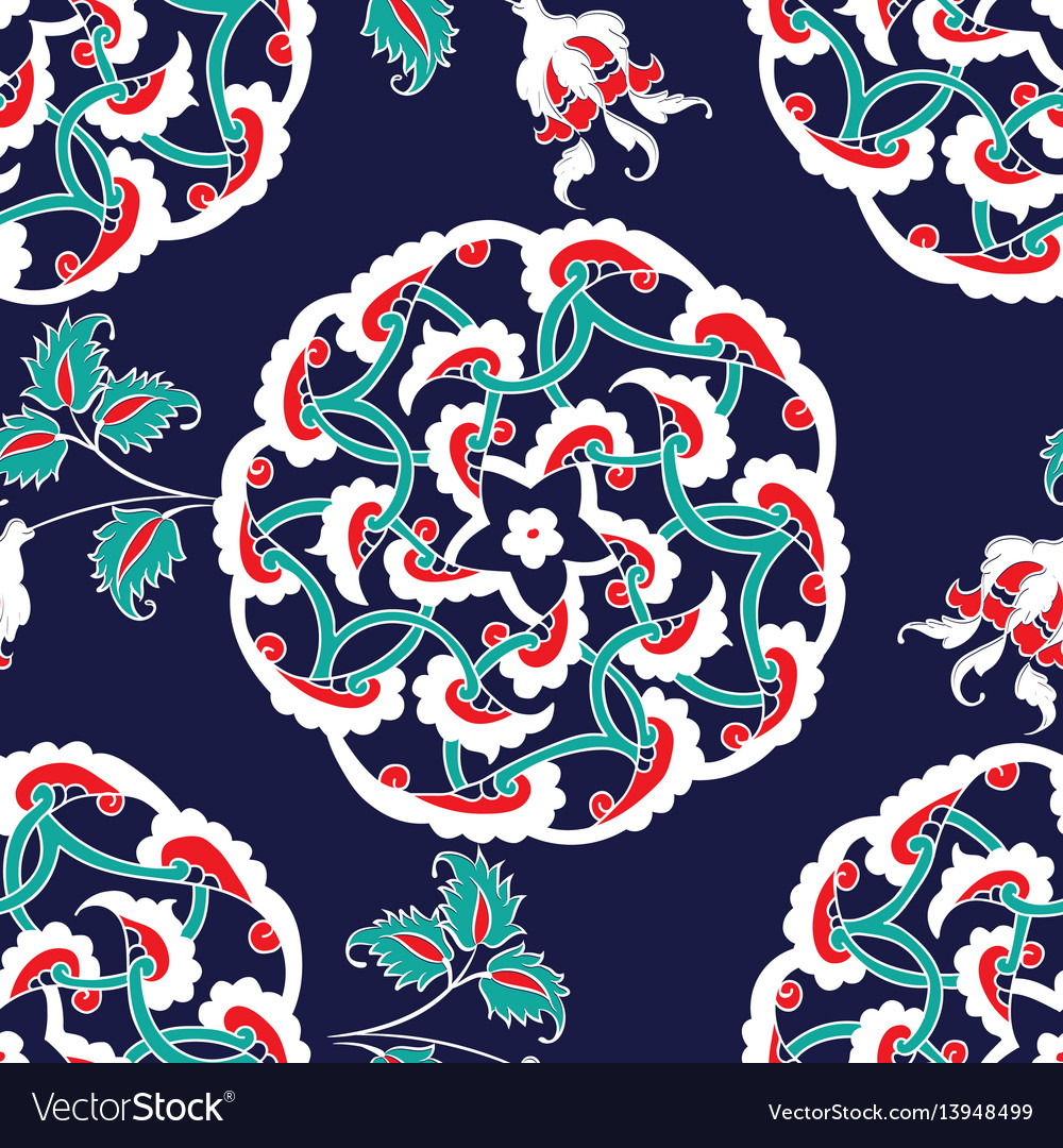 Turkish iznik tile seamless islamic pattern with