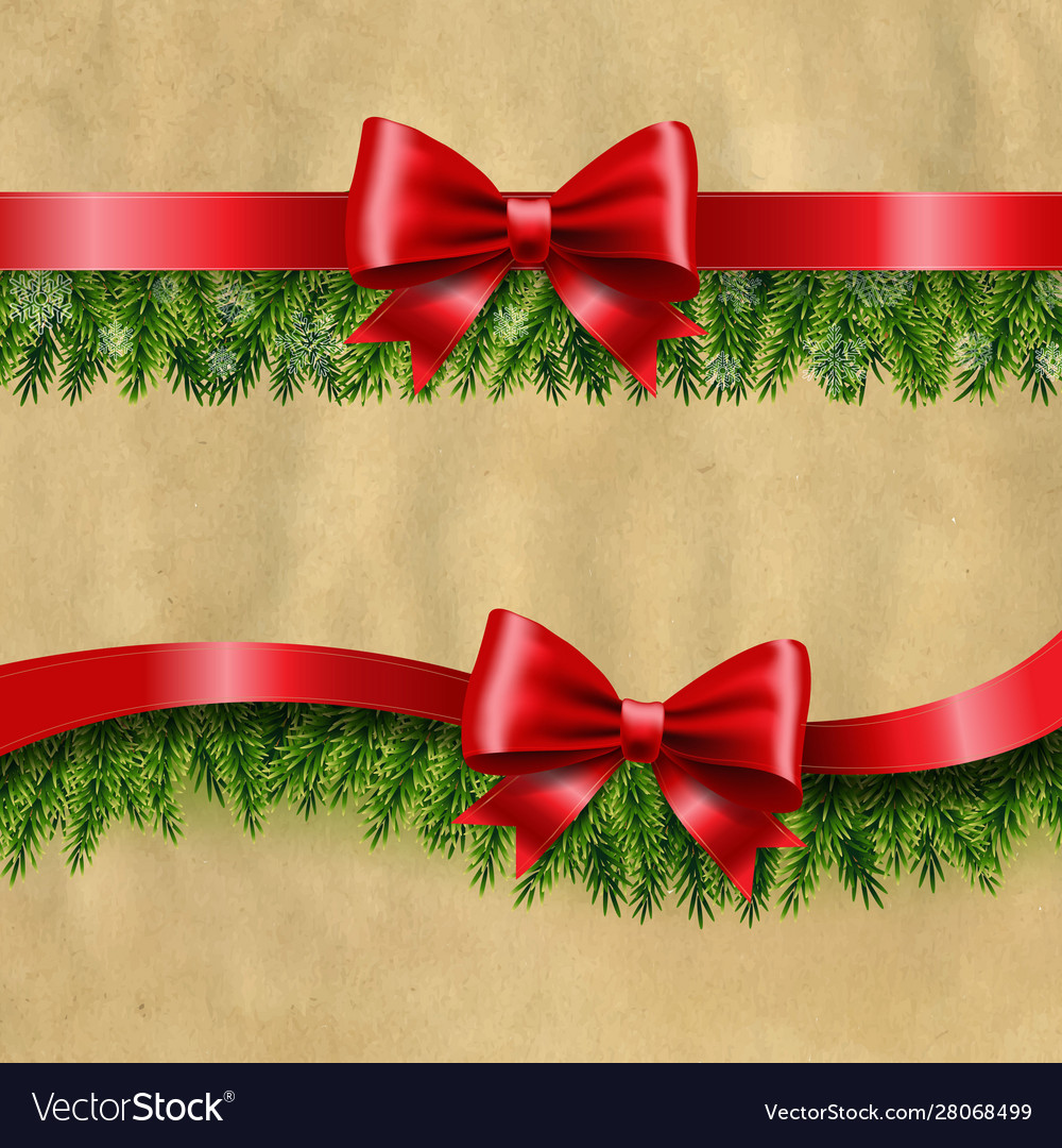 Two red ribbon and fir tree