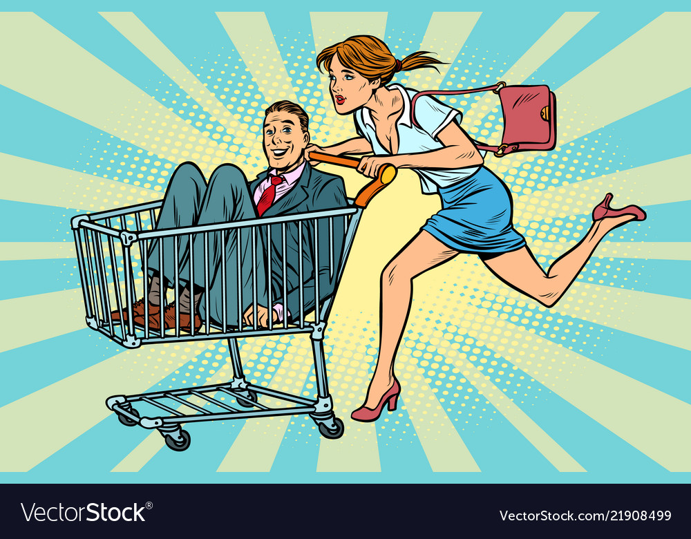 Woman bought a groom shopping cart trolley sale