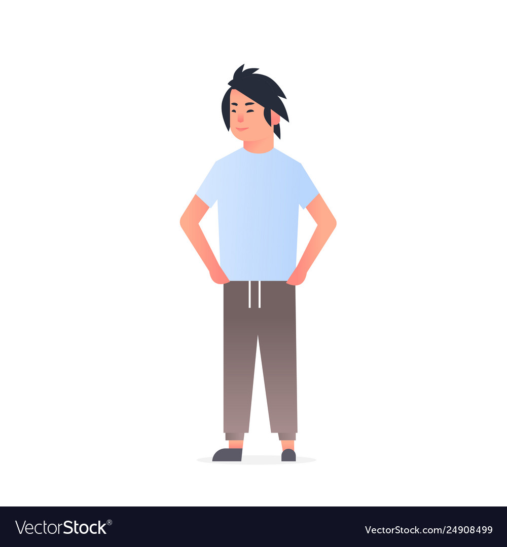 Young asian guy wearing casual clothes happy