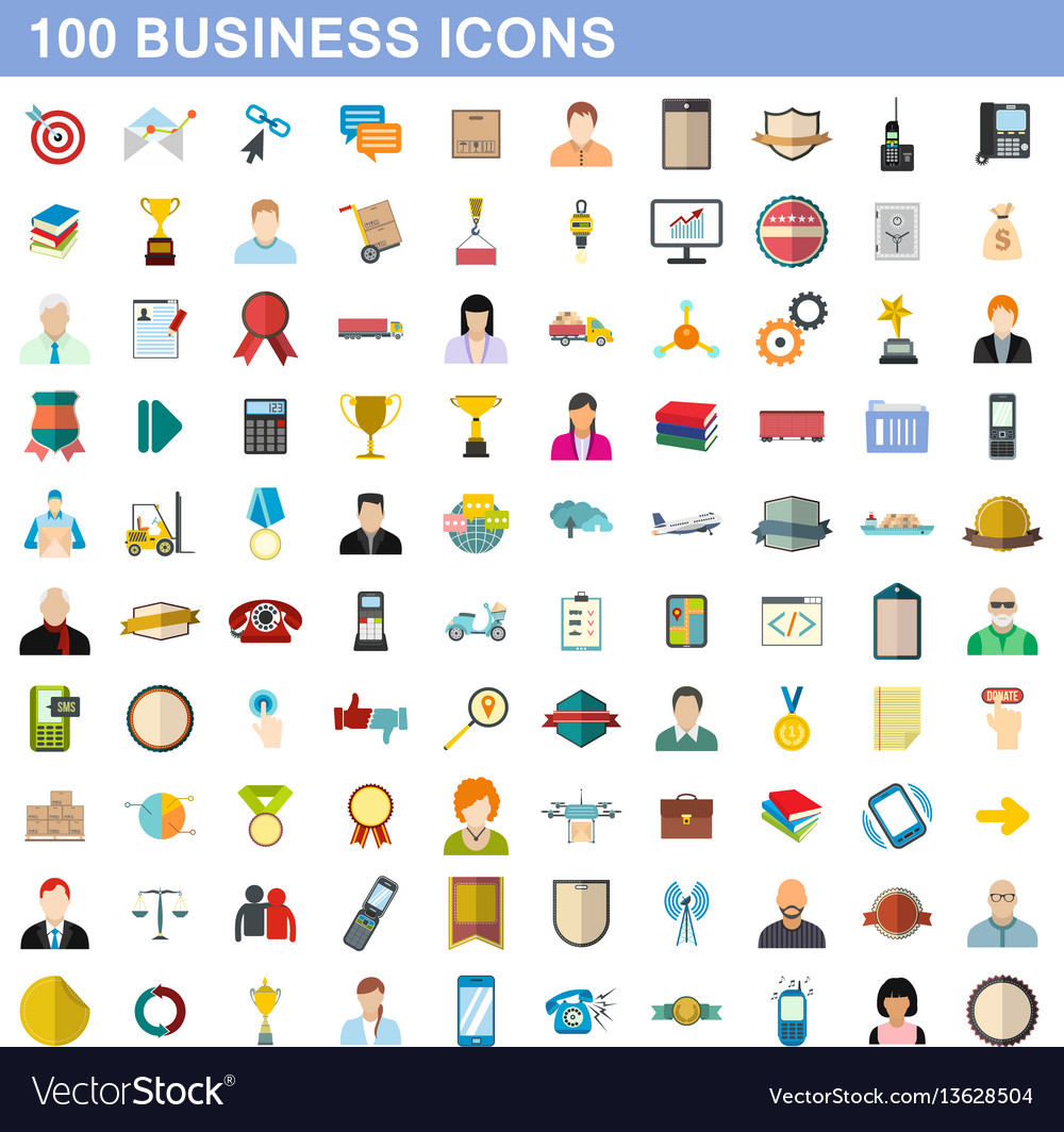 100 business icons set flat style