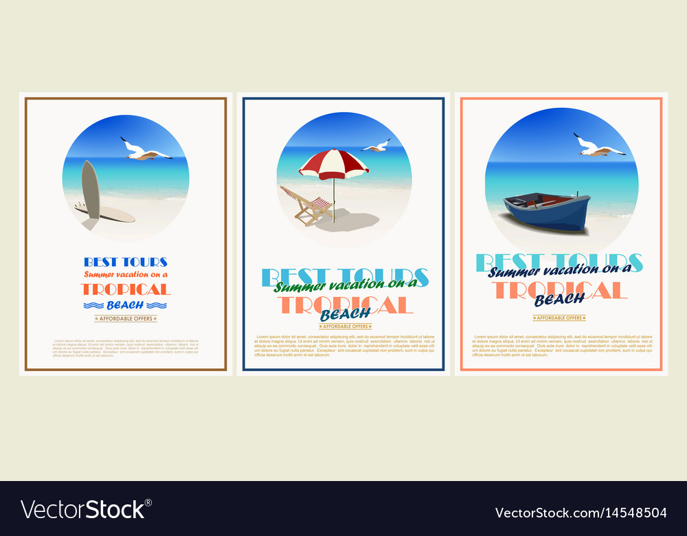 Beautiful retro set vintage seaside view vector image