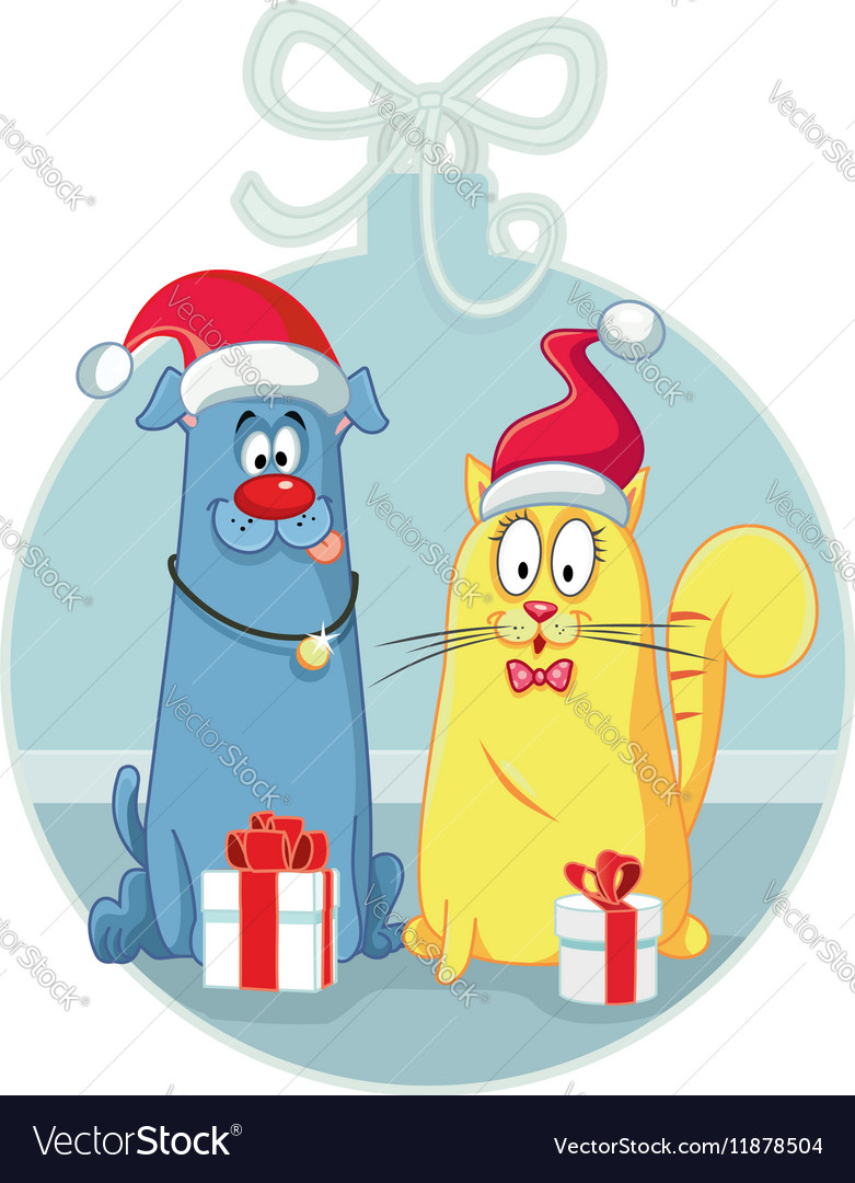 Cat and Dog with Christmas Gifts Cartoon vector image