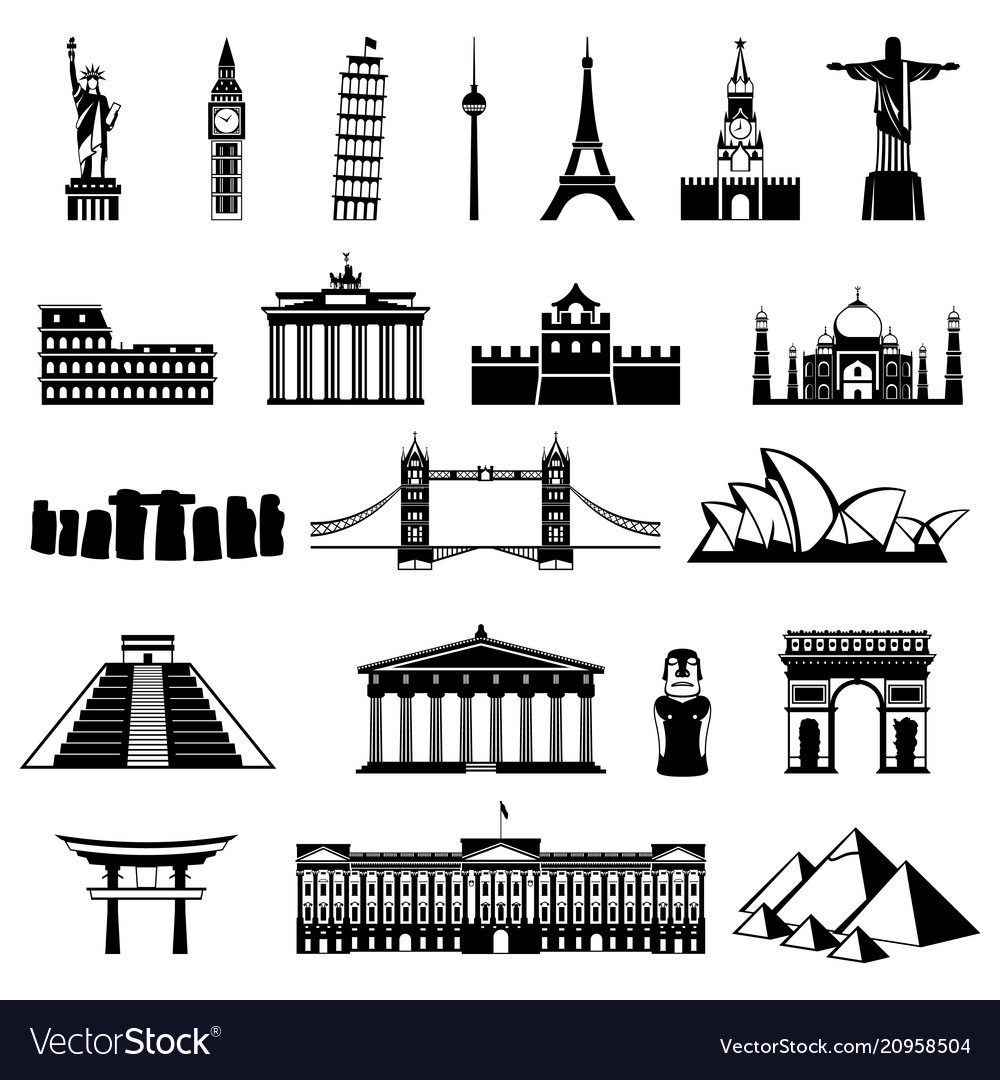 Countries of the world silhouette architecture