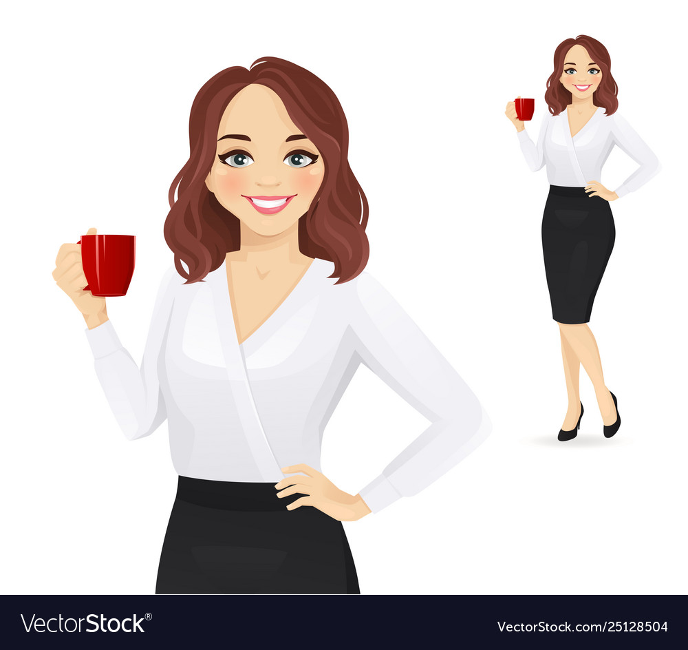 Elegant business woman with coffee cup