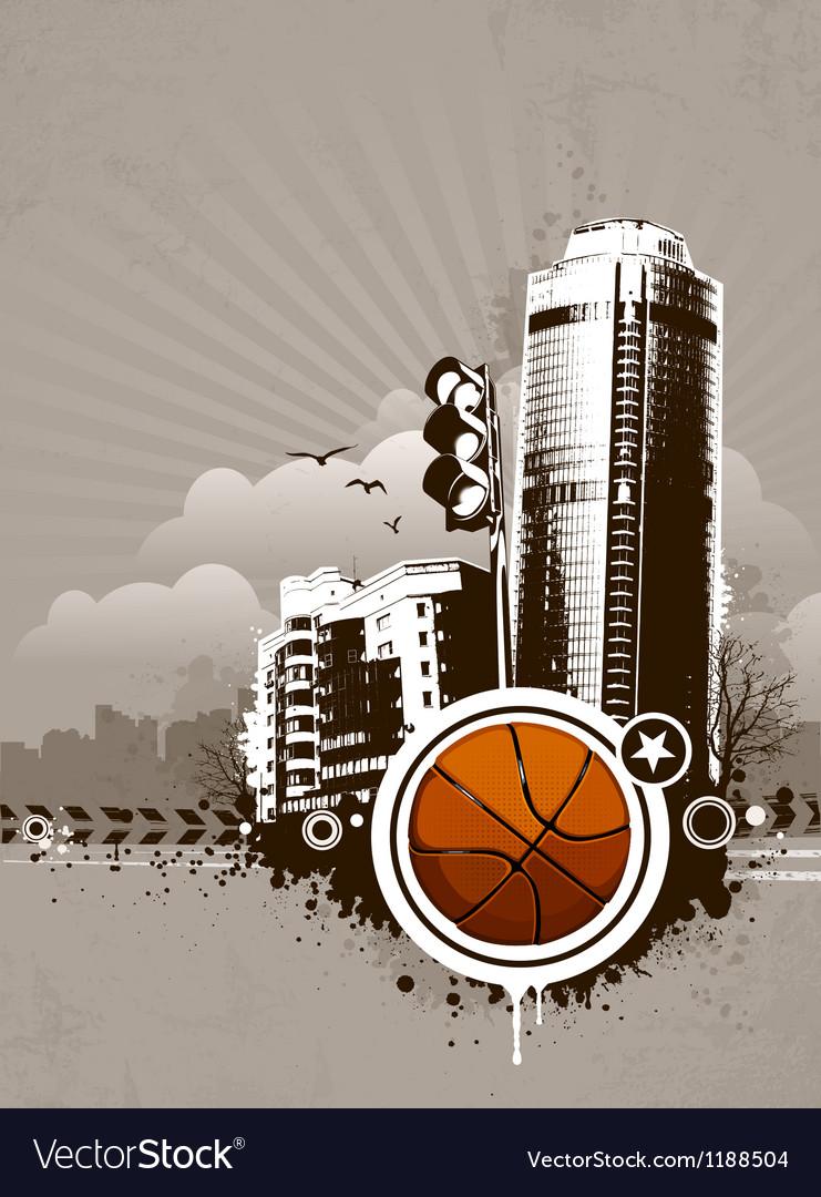 Grunge urban basketball background