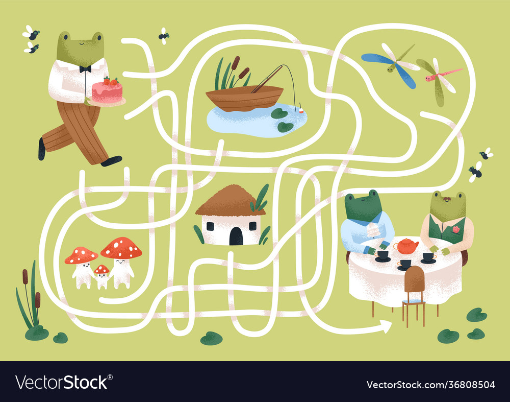 Kids maze game with cute frogs in nature childish
