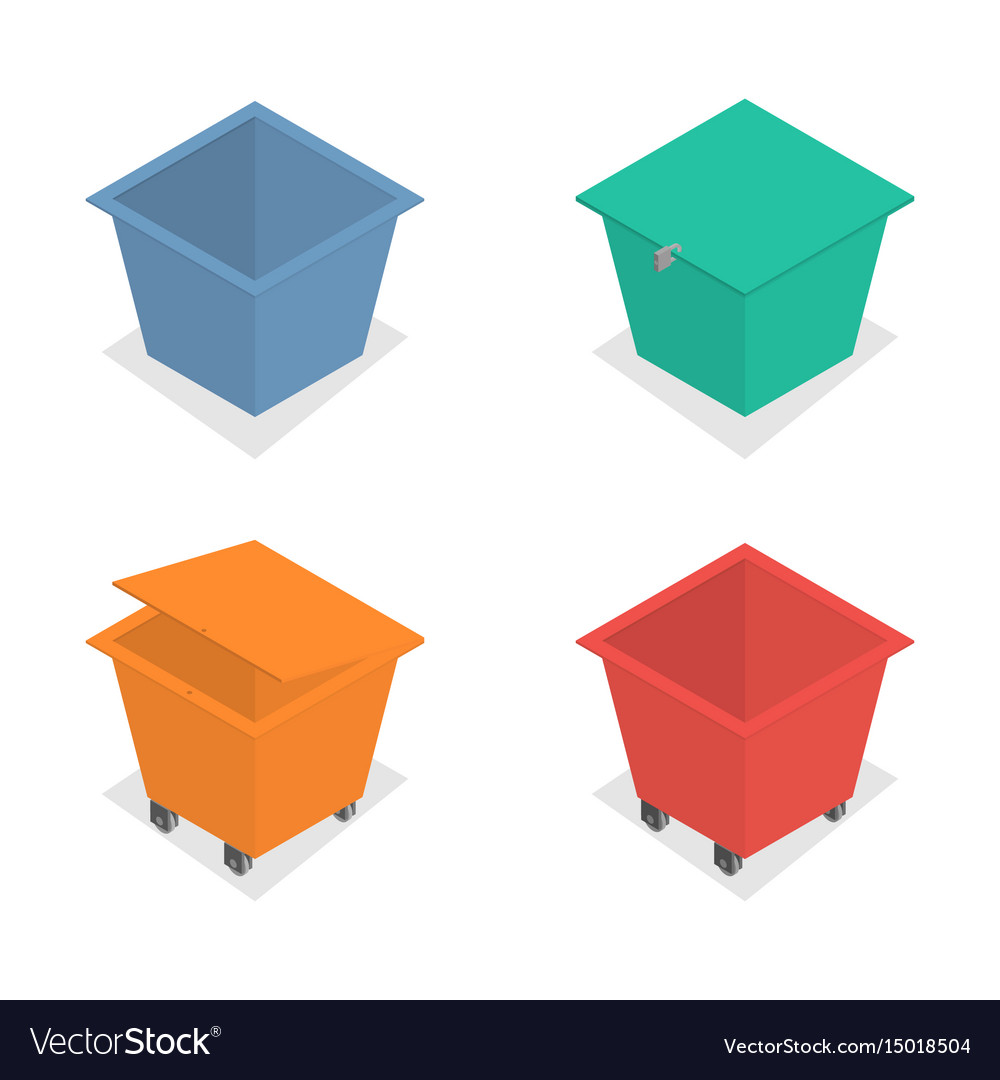 Metal container for garbage in isometric