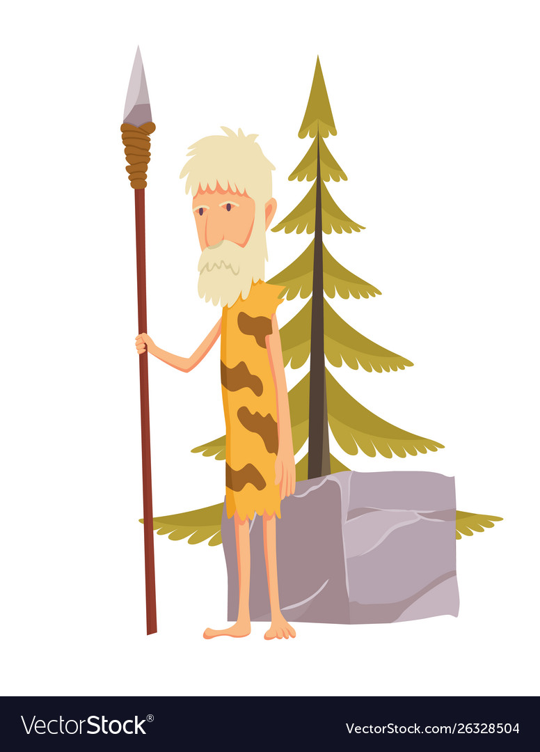 Old stone age man with spear caveman cartoon