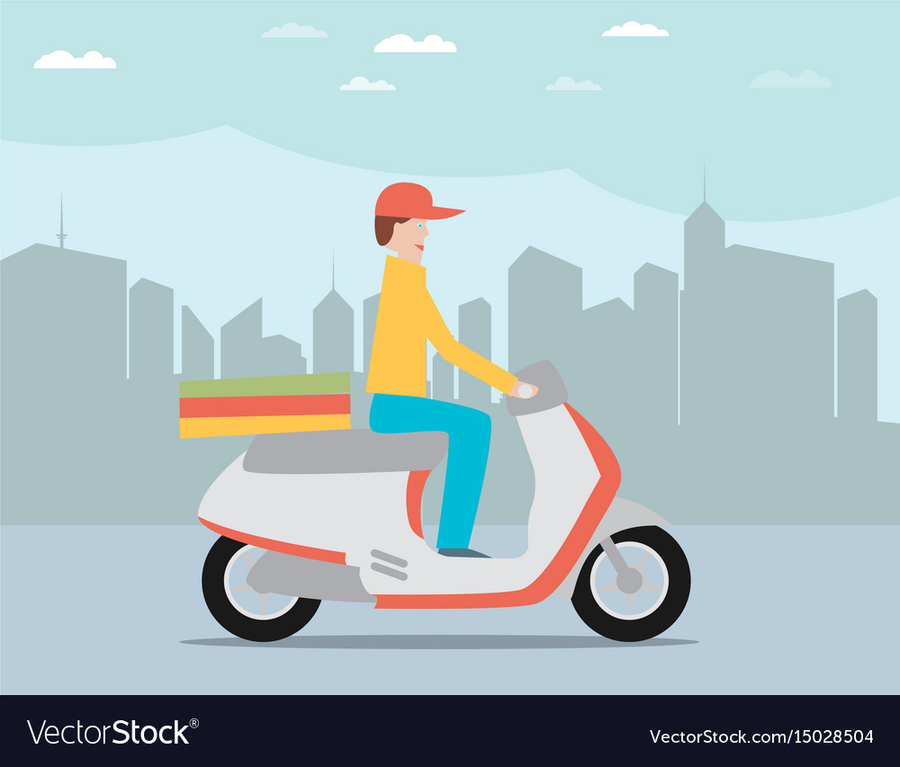 Pizza delivery by courier on scooter in the city vector image