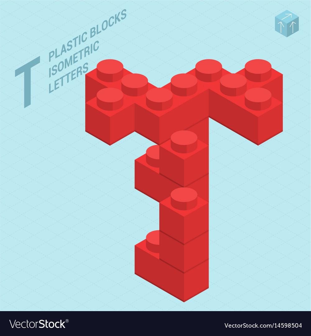 Plastic blocs letter t vector image