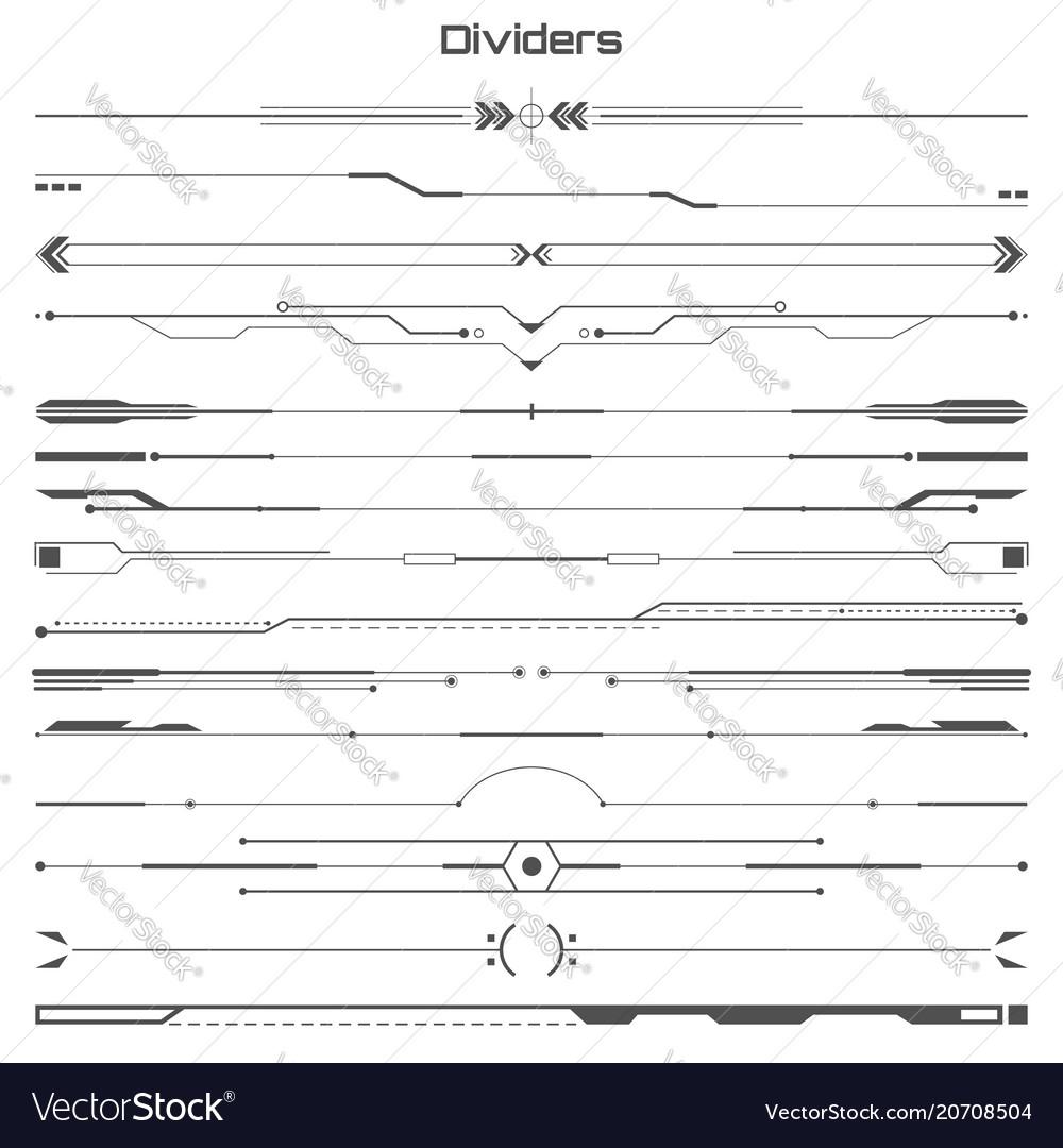 Set of black hud dividers infographic elements