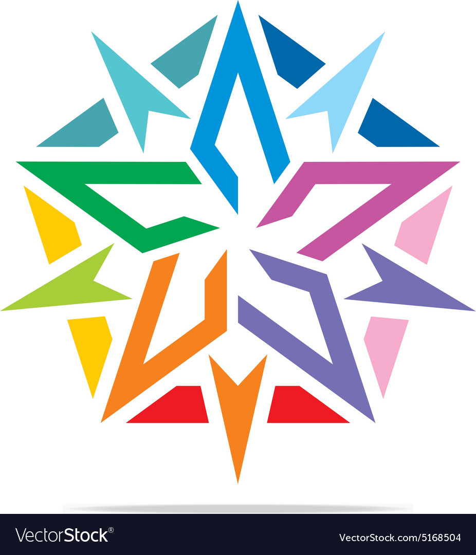 Star symbol pentagon design