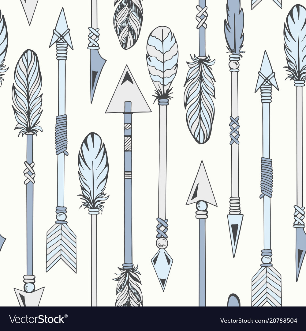 Tribal indian seamless set of arrows