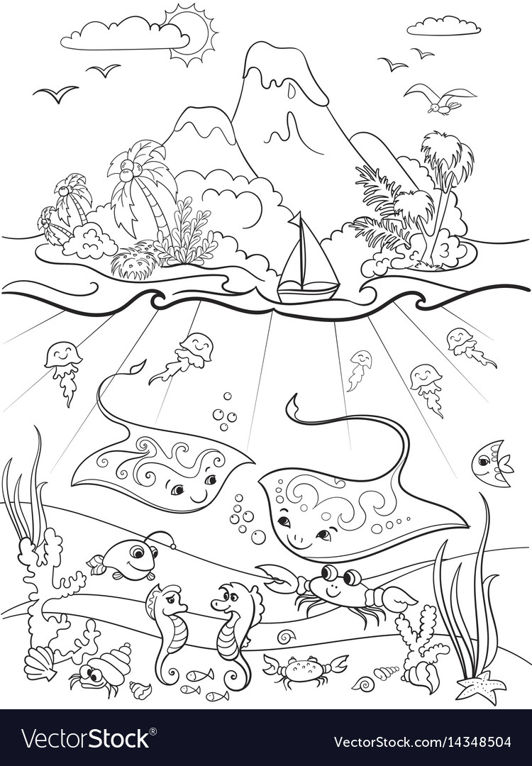 Underwater world with fish plants island and
