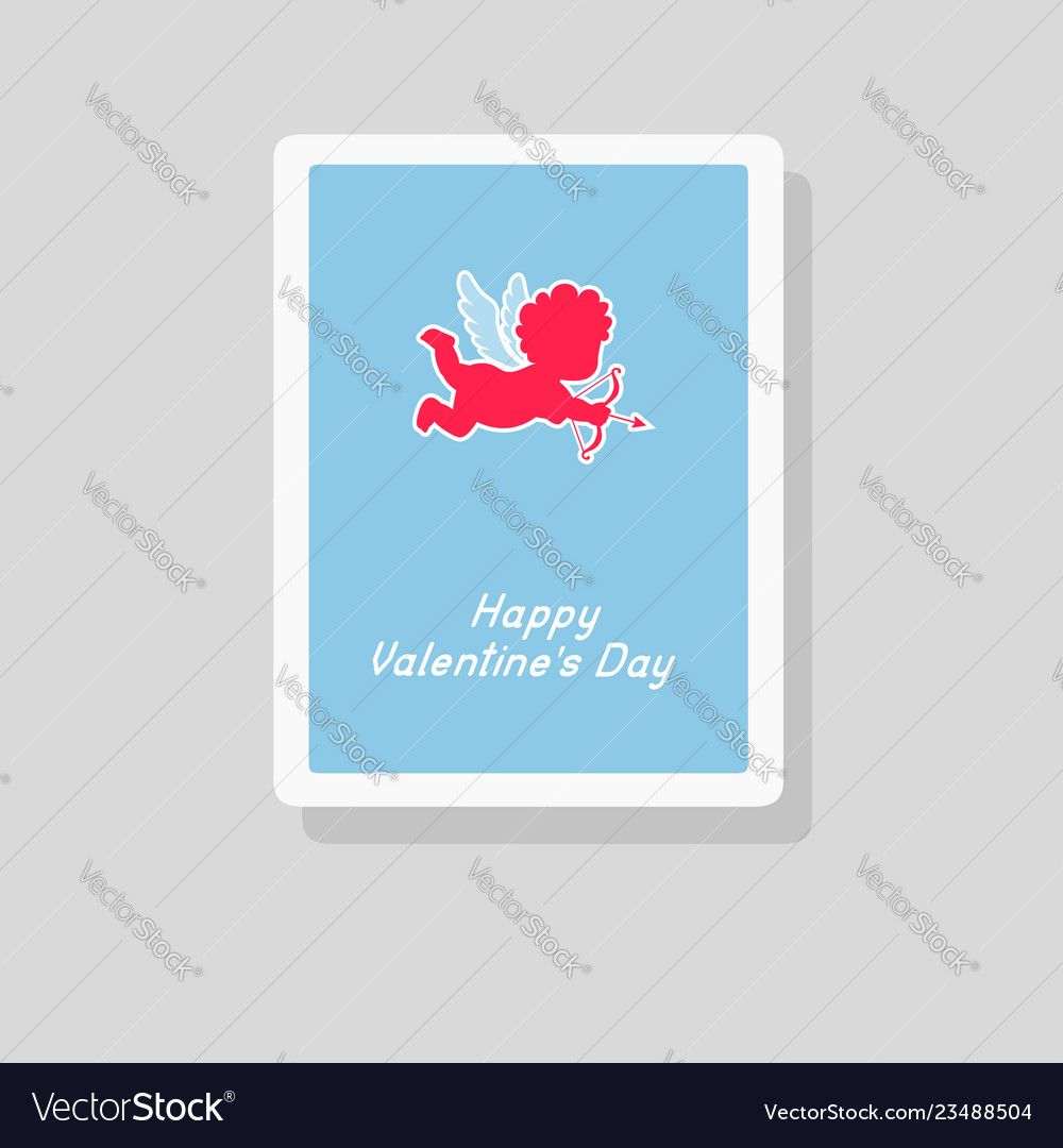 Valentines day greeting card with cupid silhouette