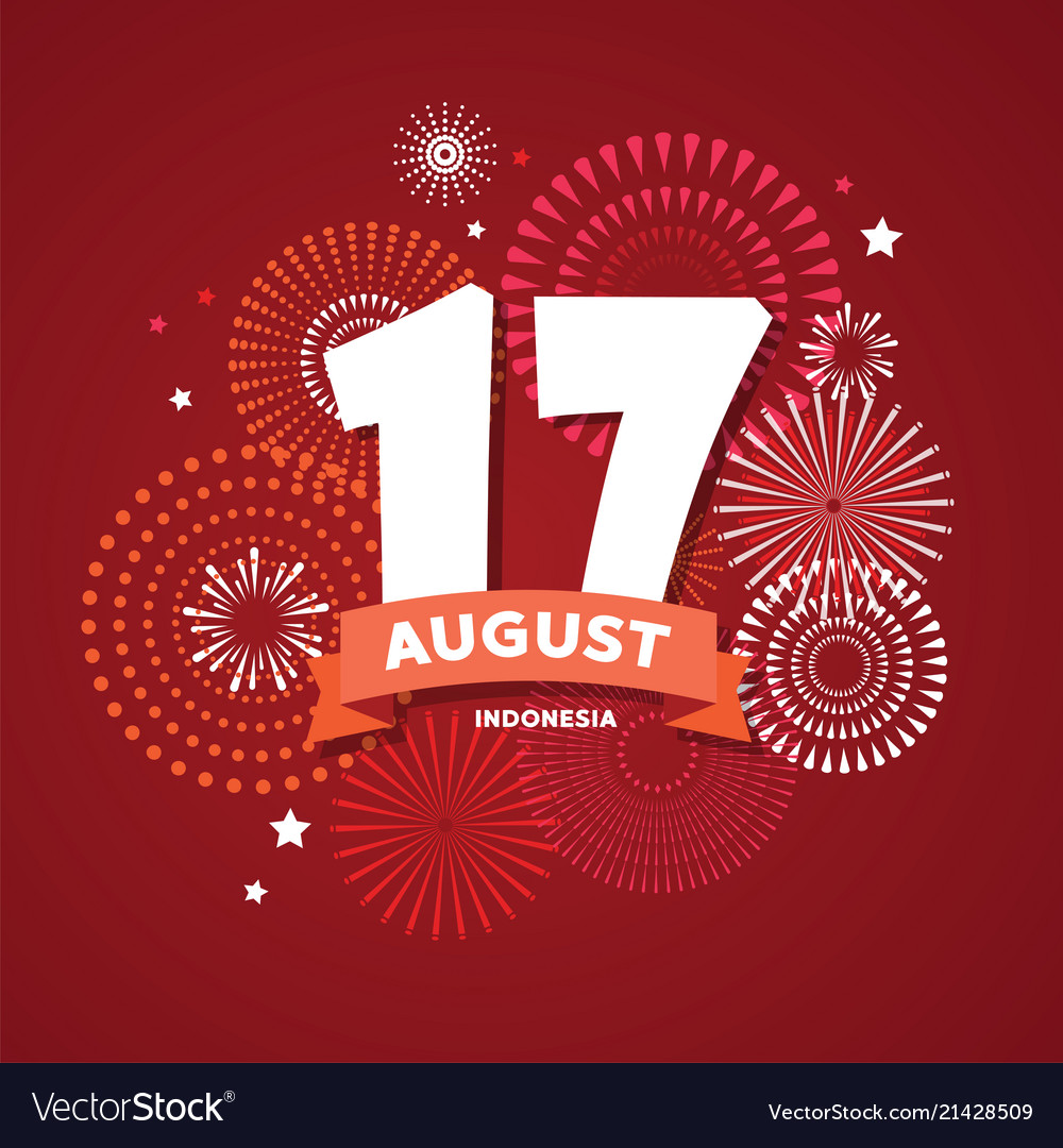 17 of august on firework background poster for