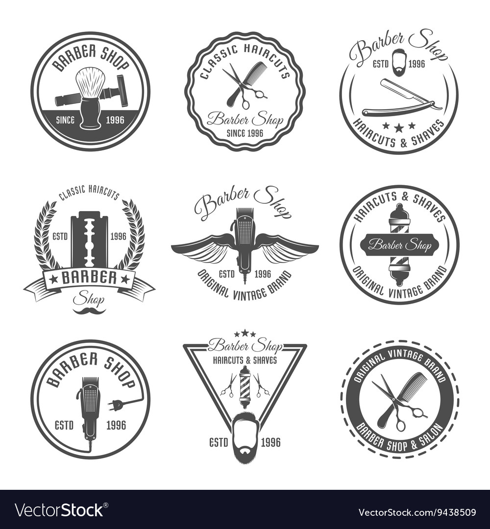 Barber Emblem Or Label Set vector image