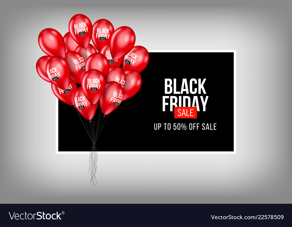 Black friday sale poster with balloons