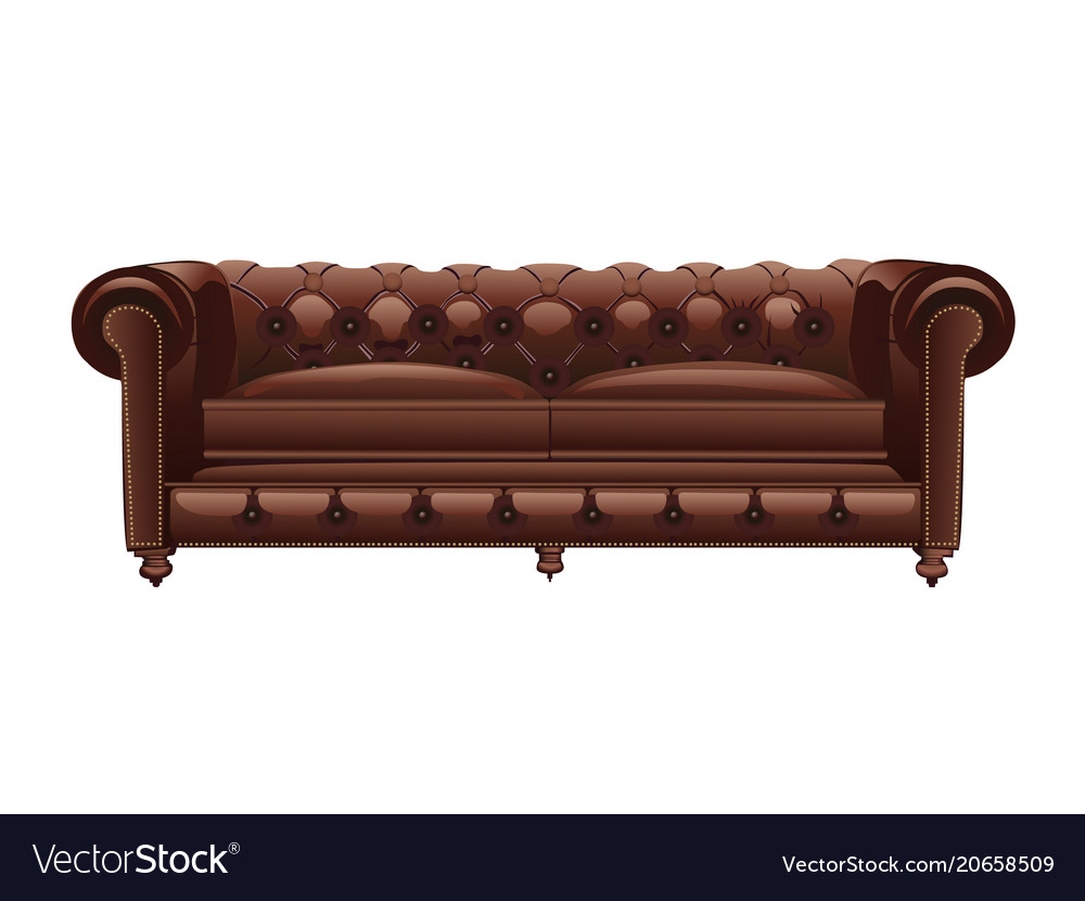 Brown leather chester sofa