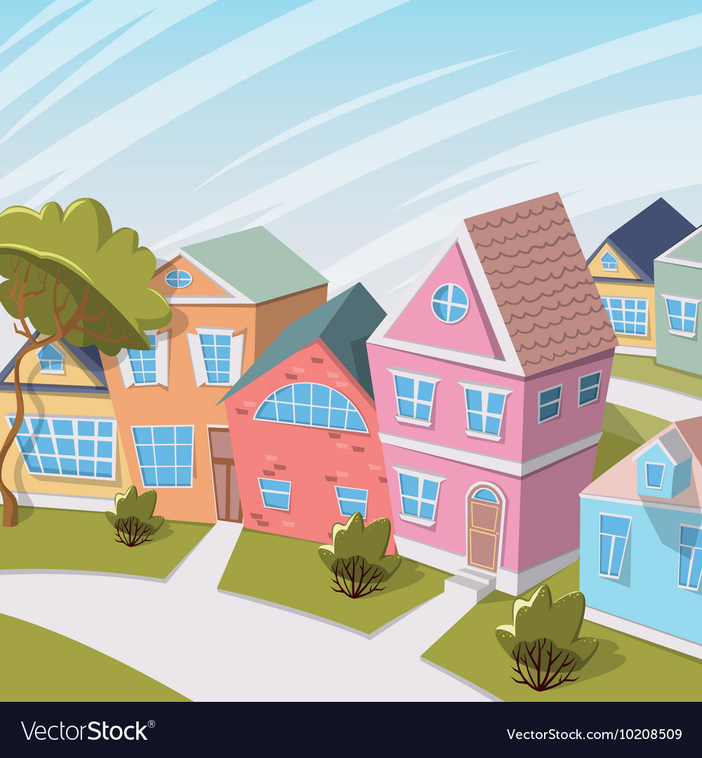 Cartoon city landscape with houses and trees