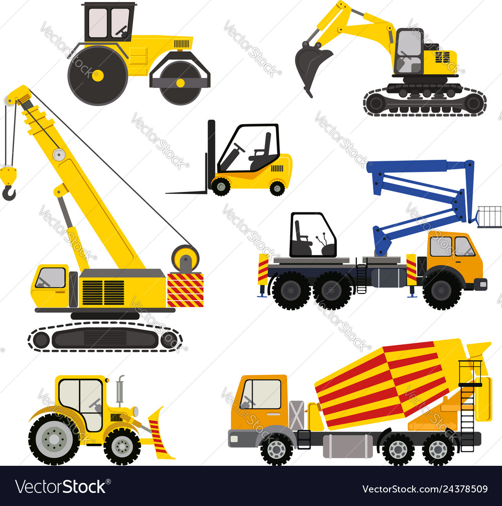 Cartoon road machinery