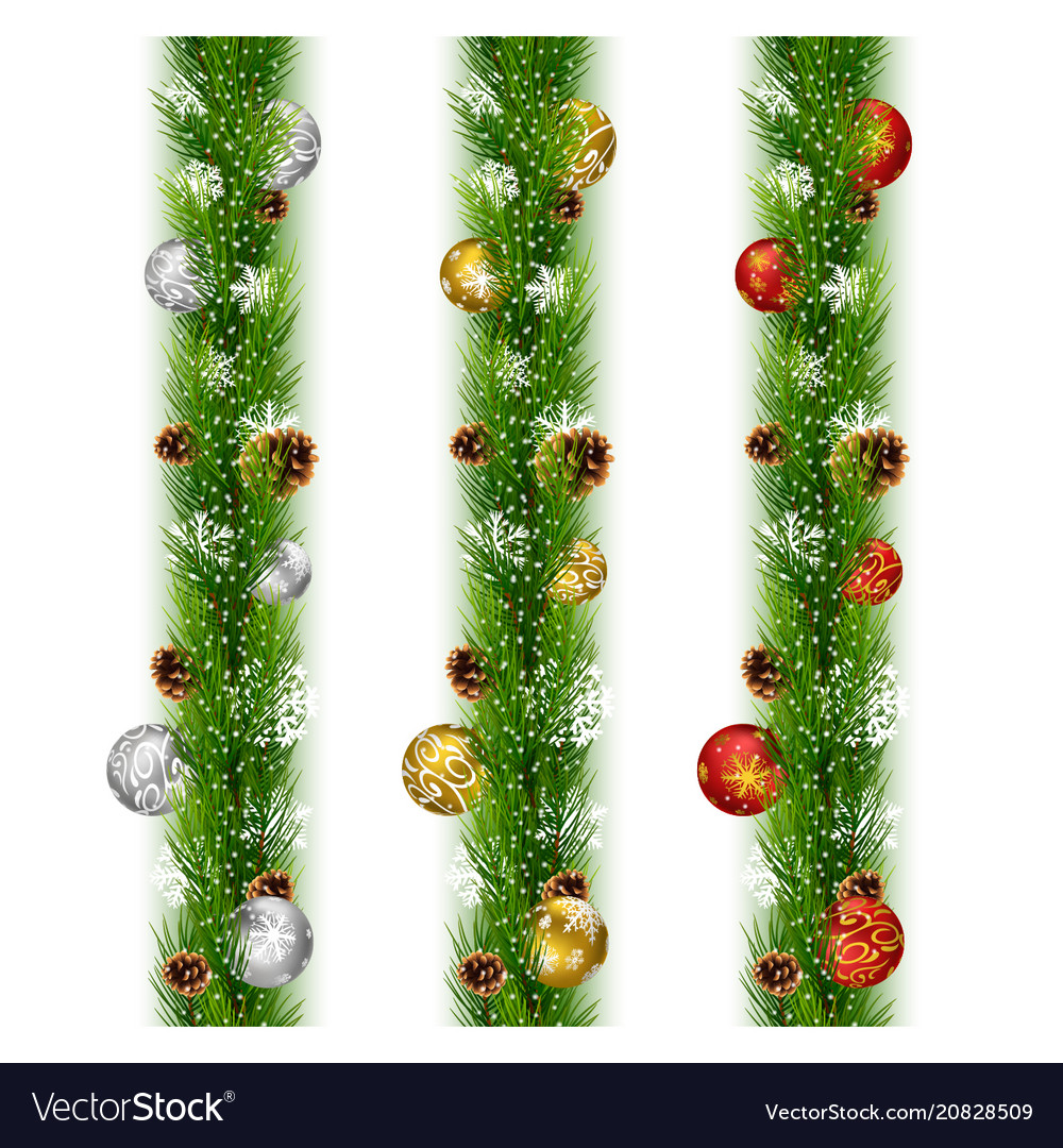 christmas garlands with balls and pine cones vector image - Christmas Garlands