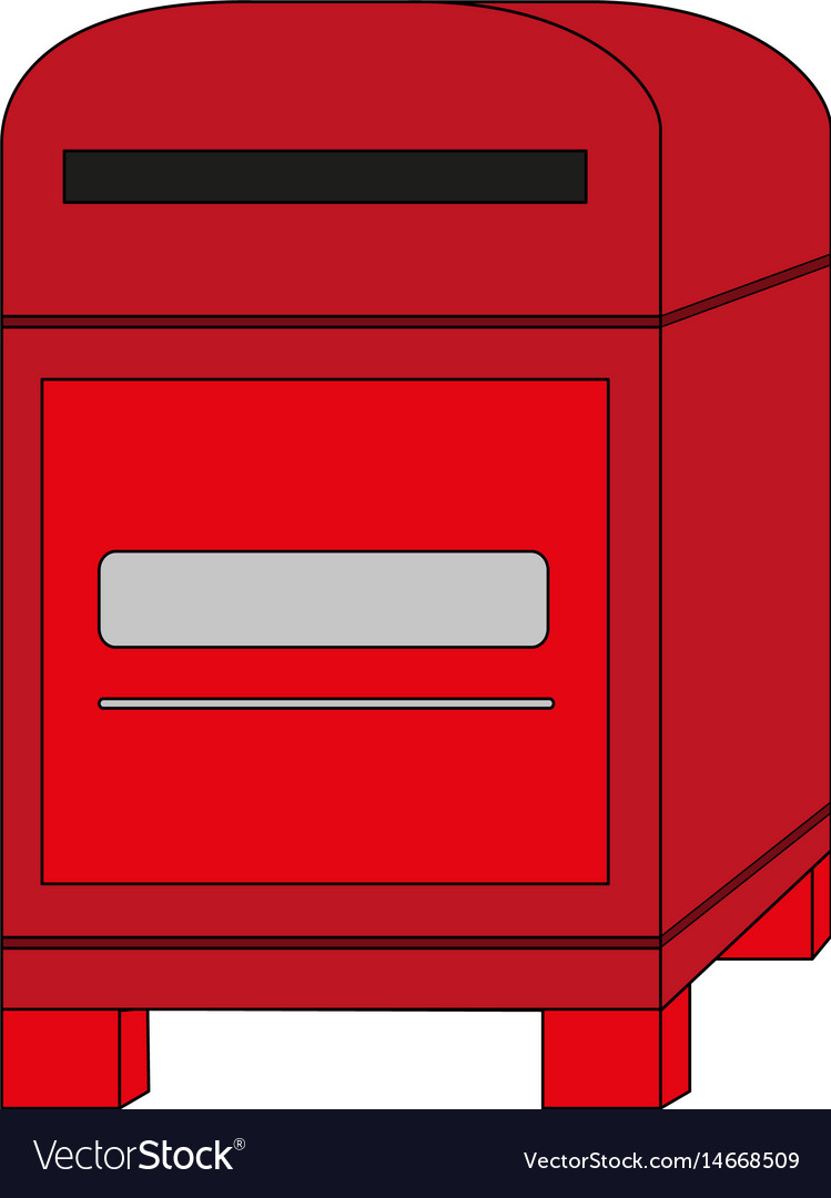 Color Image Cartoon Post Office Box Royalty Free Vector