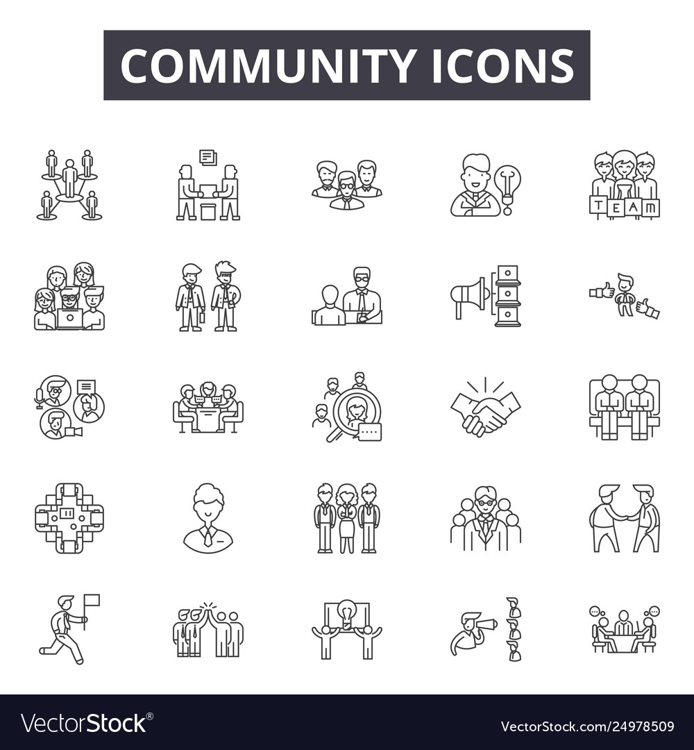 Community line icons signs set outline