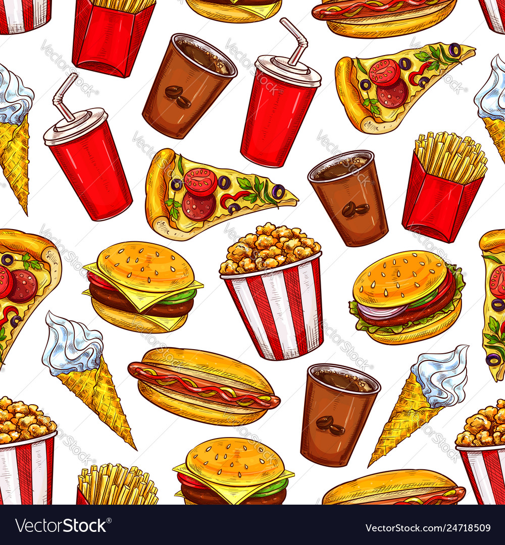 Fast food seamless pattern with burgers and drinks