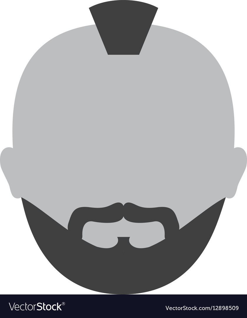 Grayscale criminal man face icon