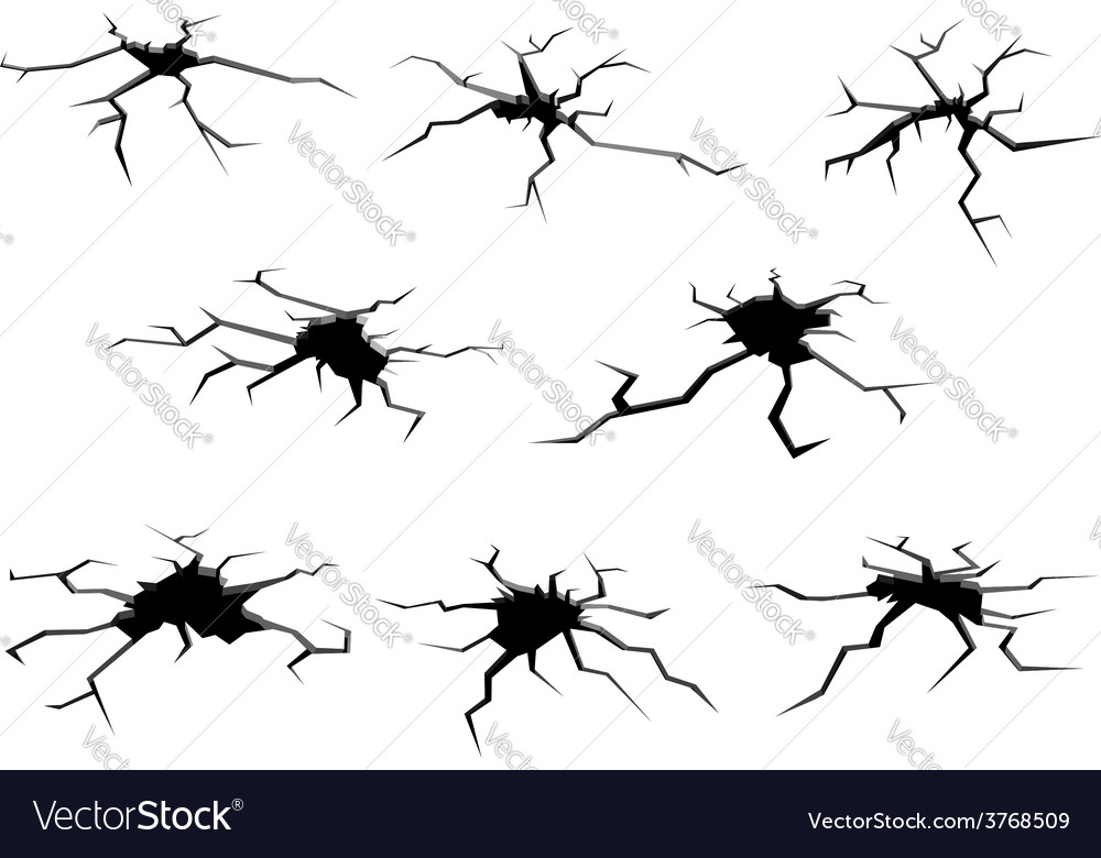 Holes and cracks on ground vector image
