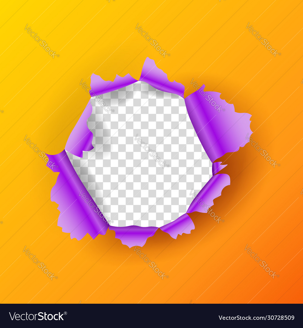 Realistic torn orange paper page round hole