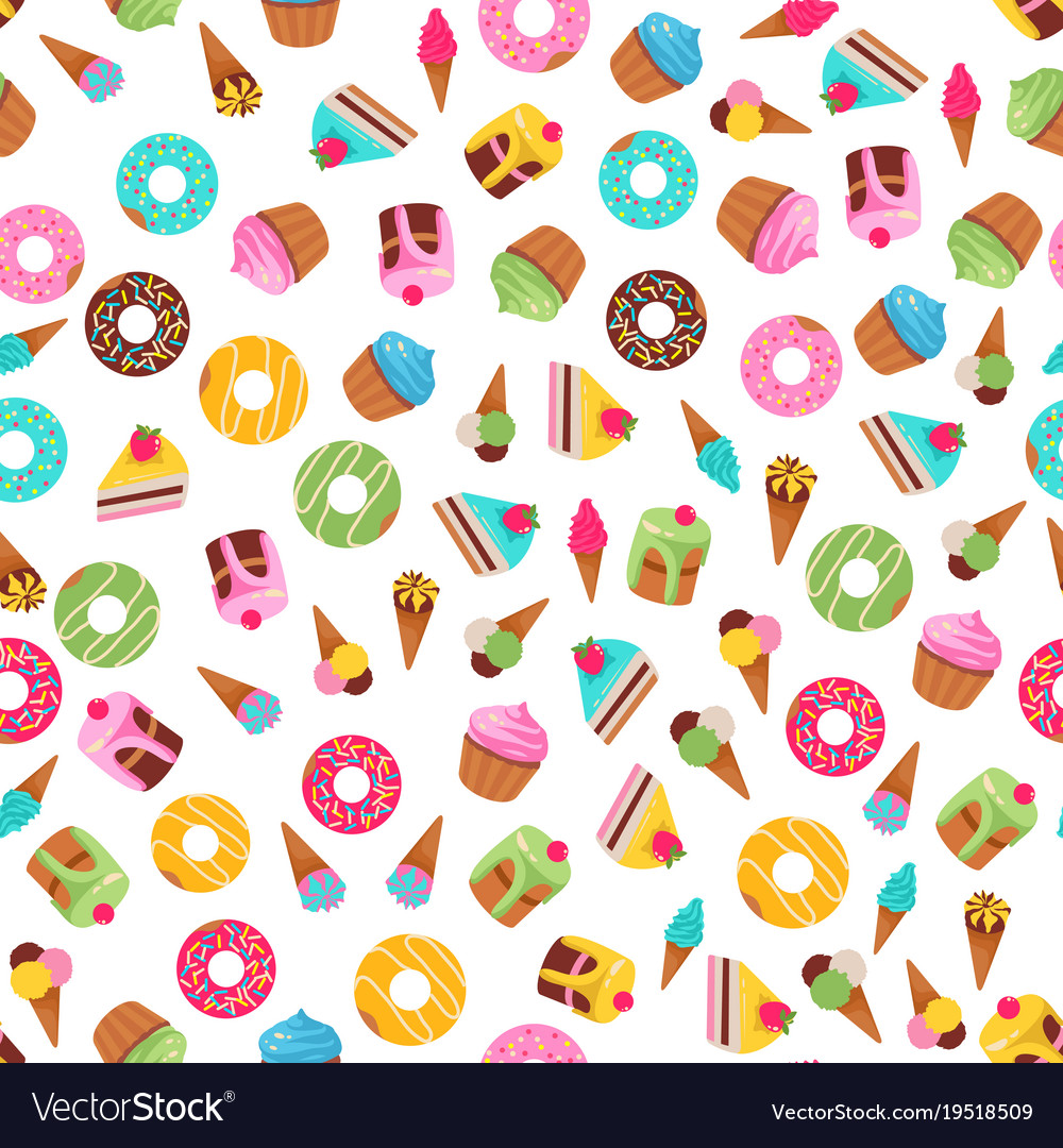 Seamless pattern of sweets dessert on white