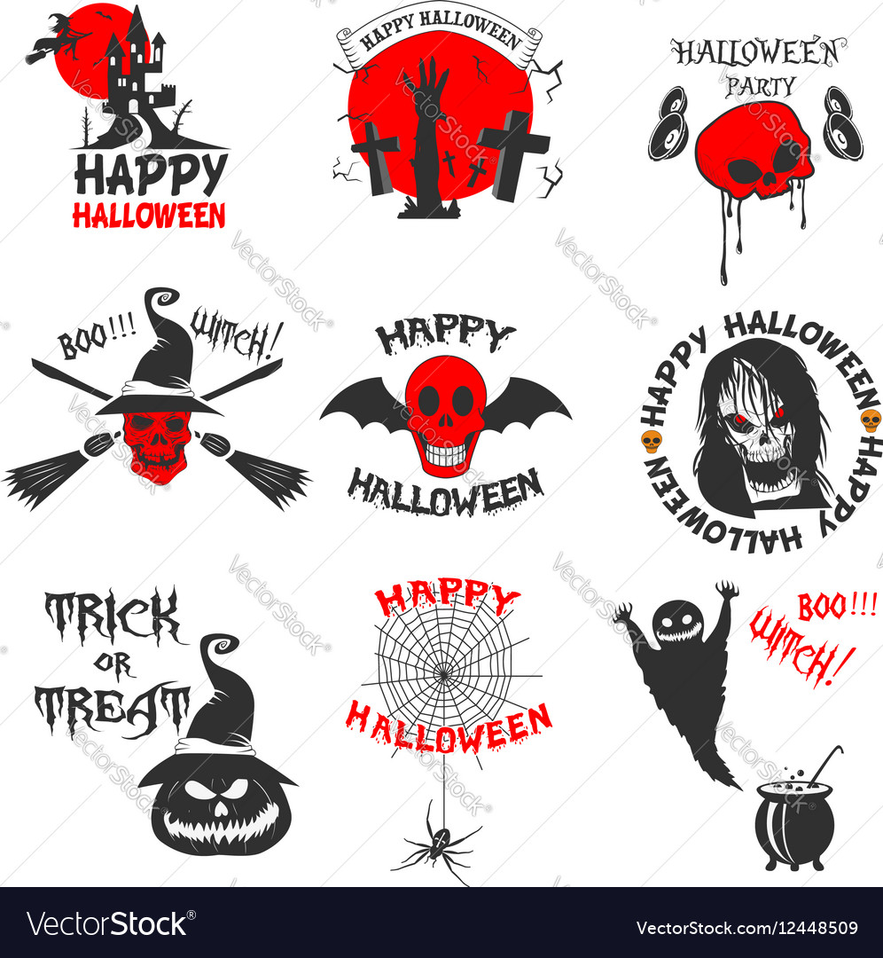 Set of halloween party labels badges and design
