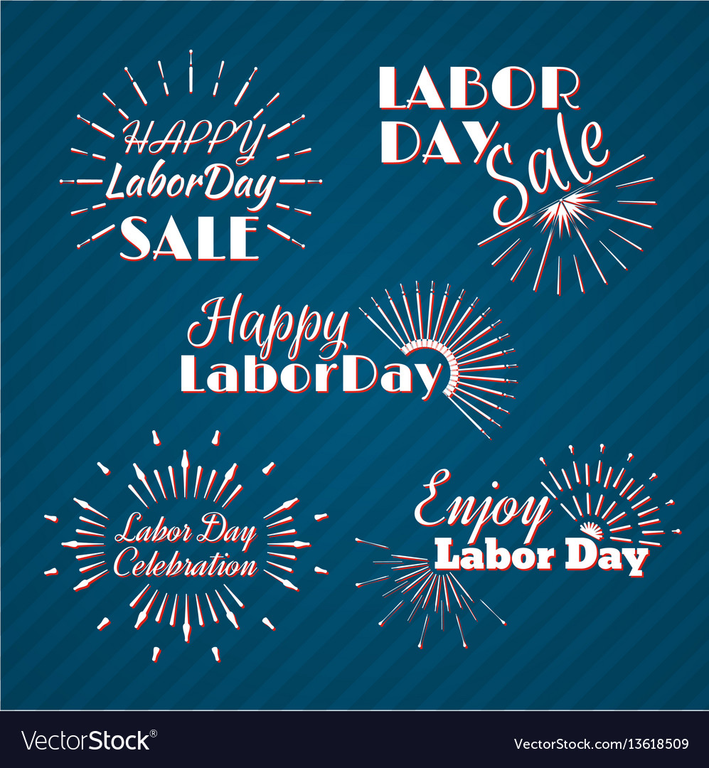 Set Of Labor Day A National Holiday Vector Image On Vectorstock