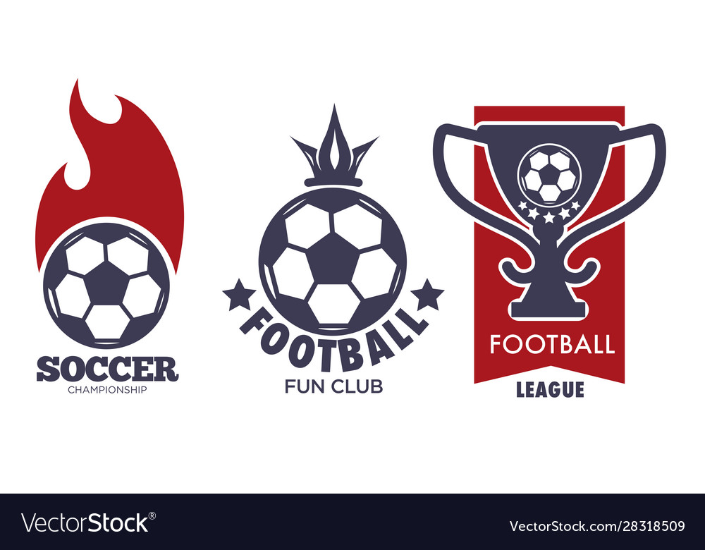 Soccer logo set with sport ball and football
